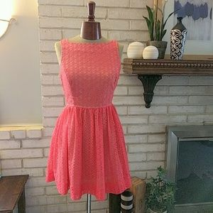 American Apparel Lace Dress Pleated Skirt Button L